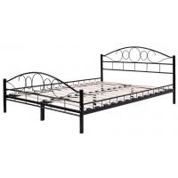 Quality Durable black Metal Frame Bed / Steel Frame Bed With Wood Slat Contemporary Bedroom Furniture for sale