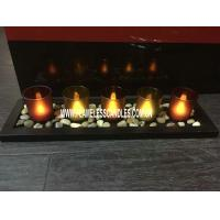 Wholesale Decorative Glass Votive LED Candles with Wooden Tray and Rock For Holiday Use from china suppliers