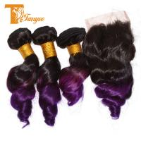 Wholesale Indian hair 2 Tone Color 1B/Purple Loose Wave Indian Ombre Hair weaving With Lace Closure from china suppliers