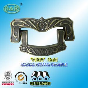 Quality Ref H008 Gold Size 19 X 11 Cm Casket Handles , Zinc Alloy Coffin Accessories for sale