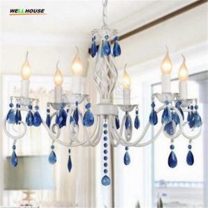 Quality Modern Crystal Chandelier Lighting Luxury Blue Crystal Chandeliers Lamp Hanging Light Lustres De Cristal Lamp for sale