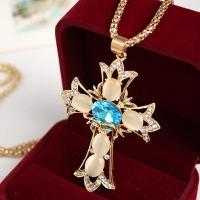 Wholesale Factory jewelry Direct Sale Gold Plating / Silver Plating Synthetic Opal Cross Pendant Necklaces from china suppliers