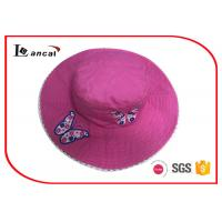 China Shoking Pink Butterfly Embroidered Custom Bucket Hats With Dot Lining on sale