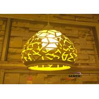 Wholesale MASO Residential Iron Pendant light White Outside Yellow inside Color Finished MS-P7002L Lasering Engraved craft lamp from china suppliers