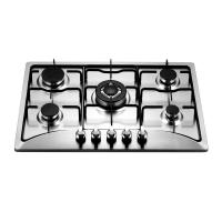 Wholesale Built In 5 Burner Gas And Electric Hob Stainless Steel with Enamel Pan Support from china suppliers