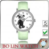 Wholesale Casual Laides Colored Genuine Leather Watches With Cubic Diamond Bear Dial from china suppliers
