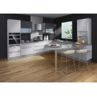 Quality Custom Waterproof Modern Kitchen Cabinets White Laminate Black Lacquer Finish for sale