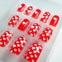 Wholesale JAPANESE christmas red Fake Nails 3D for little girls , short fake nails from china suppliers