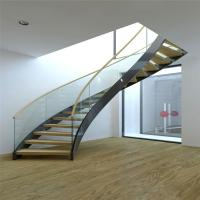 Wholesale Modern Design Interior curved staircase with tempered glass railing from china suppliers