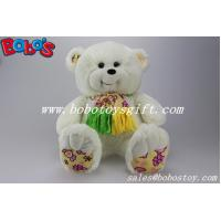 Wholesale Soft Cute White Color Smile Teddy bear wholesale with nice scarf from china suppliers