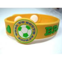 Wholesale Custom Brazil World Cup Sports Silicone Bracelets , Soccer Silicone Bracelets from china suppliers