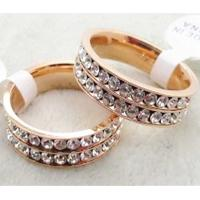 Wholesale stainless steel crystal ring with rose color LRX41 from china suppliers