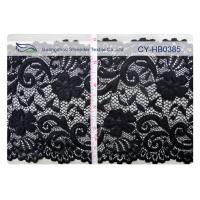 Wholesale Black Elastic Lace Nylon Spandex Fabric Water Soluble 15cm Width CY-HB0385 from china suppliers
