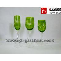 Wholesale Engraved flute/red wine/white wine glasses, sprayed green 2014 new from china suppliers