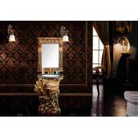 Wholesale Hotel Single Sink Bathroom Vanity With Mirror , Baroque Bathroom Mirrored Cabinets from china suppliers