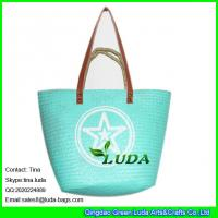 Wholesale LUDA 2016 popular beach bag white logo printed seagrass painted beach straw bags from china suppliers
