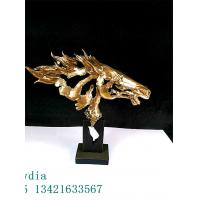 Quality Abstract Horse Head Painted in Copper Made by Special Resin Collection Furniture Decoration for sale