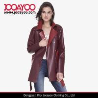 Wholesale Women Latest Design Coat Color Block Red Faux Leather Vintage Trench Coat from china suppliers