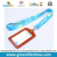 Wholesale Custom Printed Silkscreen Printing Logo Working Lanyard Holder w/Leather Card Holder Combo from china suppliers