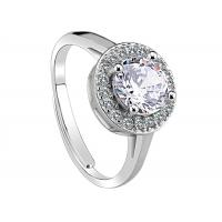 Wholesale Beauty Round Crystal Ring With Clear CZ Pave , Solid Sterling Silver Engagement Rings from china suppliers