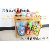 Wholesale Multilayer bamboo spice rack, corner bamboo frame, wooden kitchen storage rack from china suppliers