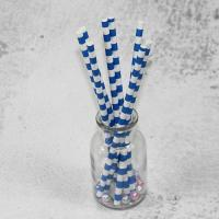 Wholesale 10mm Large caliber pearl milk tea blue Horizontal stripes color Biodegradable Paper Drinking Straws from china suppliers