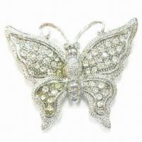 Wholesale Butterfly Metal Brooch, Can be Used for Weddings, Parties, Gifts, Customized Colors Welcomed from china suppliers