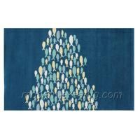 Buy cheap Navy Blue, Milky White Fish Pattern Wool Area Rug, Hand Tufted Modern Carpet For Living Room from wholesalers