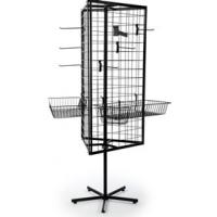 A black rotating stand grid panels with hooks and baskets