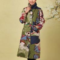 China Women Embroidered Cotton Padded Coat , Long Traditional Chinese Winter Clothing for sale