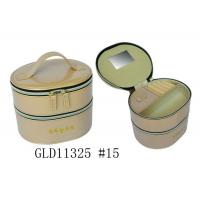 Wholesale Two Floor Round Travel Jewelry Case , Round Leather Jewelry Box With Mirror from china suppliers