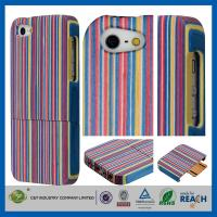 Wholesale Colorful Stripe Unique Handmade Natural  Hard Wood Cell Phone Cases Cover For Iphone 5S from china suppliers