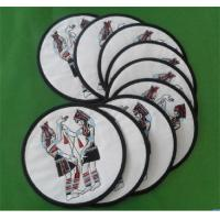 Wholesale Embroidered cotton cup coaster for table decor, merrow border embroidered table coasters, from china suppliers