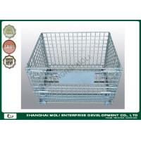 Wholesale Industrial collapsible metal storage bins on wheels wire cage silver or blue color from china suppliers