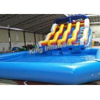 Wholesale 6.5m High Giant Double Lane Inflatalbe Water Slide With Swimming Pool from china suppliers