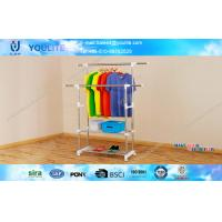 Wholesale Custom Heavy Duty Double Pole Telescopic Clothes Rack , Metal Clothing Drying Hanger from china suppliers