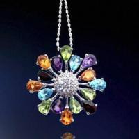 Wholesale Rhodium-plated Silver Pendant, Decorated with Zirconia Stones from china suppliers