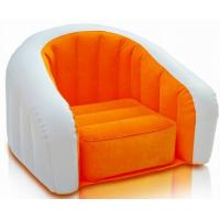 Wholesale PVC orange inflatable flocked sofa with logo pringting 65 * 65CM 0.35mm thickness from china suppliers