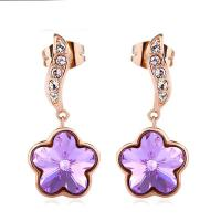 Wholesale Ref No.: 405033 plum blossom flipping plated gold flower earrings Elements Swarovski for sale best wholesale jewelry sup from china suppliers