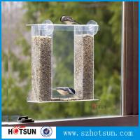 Wholesale Wholesale acrylic window bird feeder with drain holes, removable tray and water trays ,strong suction cups new from china suppliers
