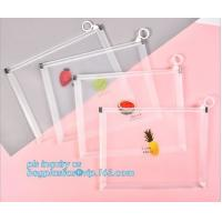 Wholesale Custom Packaging Clear PVC Jelly Bag with Plastic Slider Ziplock PVC Storage Cosmetics Packing Bag, white logo small pla from china suppliers