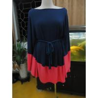 Wholesale Modena / Coral Batwing Sleeve Mini Dress , Self Belt Summer Plus Size Cape Dress from china suppliers