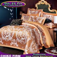 Wholesale Golden Color King Size Cotton Fabric Luxury Wedding Jacquard Bedding Sets from china suppliers