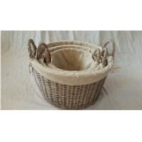 Wholesale Willow wicker storage basket with liner from china suppliers
