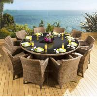 Wholesale Large Outdoor 10 Seater Rattan Woven Round Furniture Dining Table And Chairs Set from china suppliers