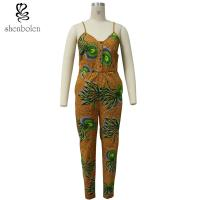 Wholesale Spaghetti Strap Women African Print Jumpsuit For Summer / Spring Brown Color from china suppliers