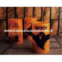 Wholesale Flameless LED Candles With Black Halloween Printing , Orange Wax Electronic Candle from china suppliers