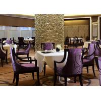 Wholesale Burgundy Purple Fabric Hotel Restaurant Furniture Solid Wood Dining Arm Chair from china suppliers