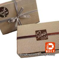 Biodegradable Corrugated Cardboard Boxes , Delicate Ribbon Tie Chocolate Packaging Boxes