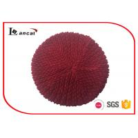 Wholesale Unique stitch ladies burgundy knit beret hat with rib hat brim from china suppliers